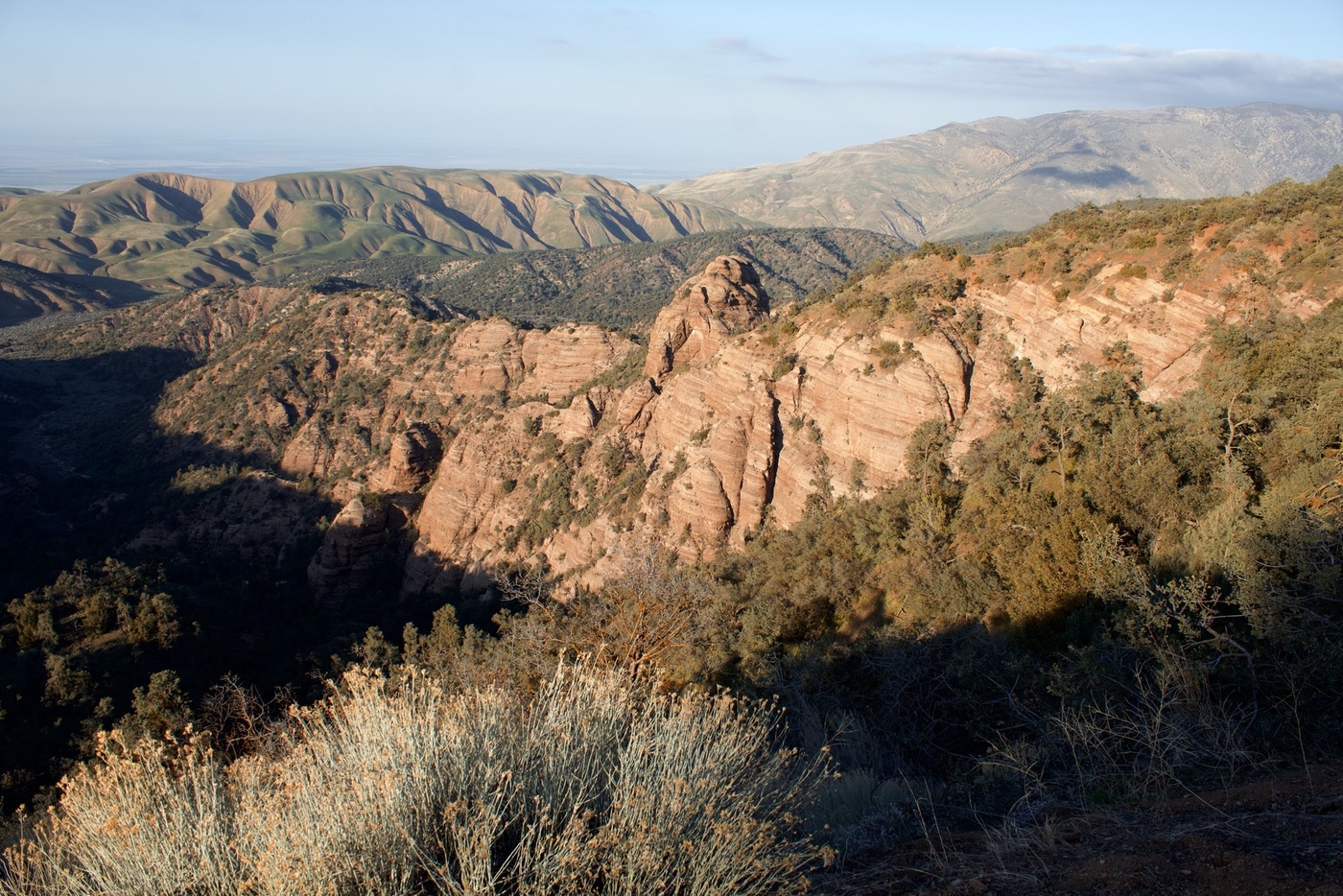Sunset on banded red sandstone in Los Padres National Forest
